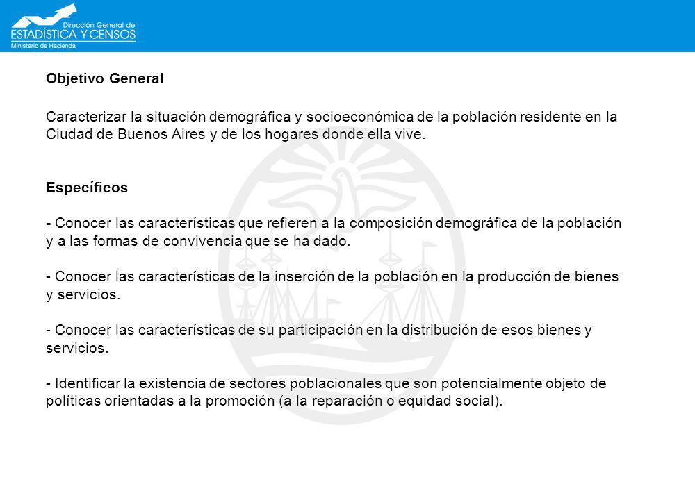 Objetivo General Caracterizar la situación demográfica y socioeconómica de la población residente en la Ciudad de Buenos Aires y de los hogares donde ella vive.