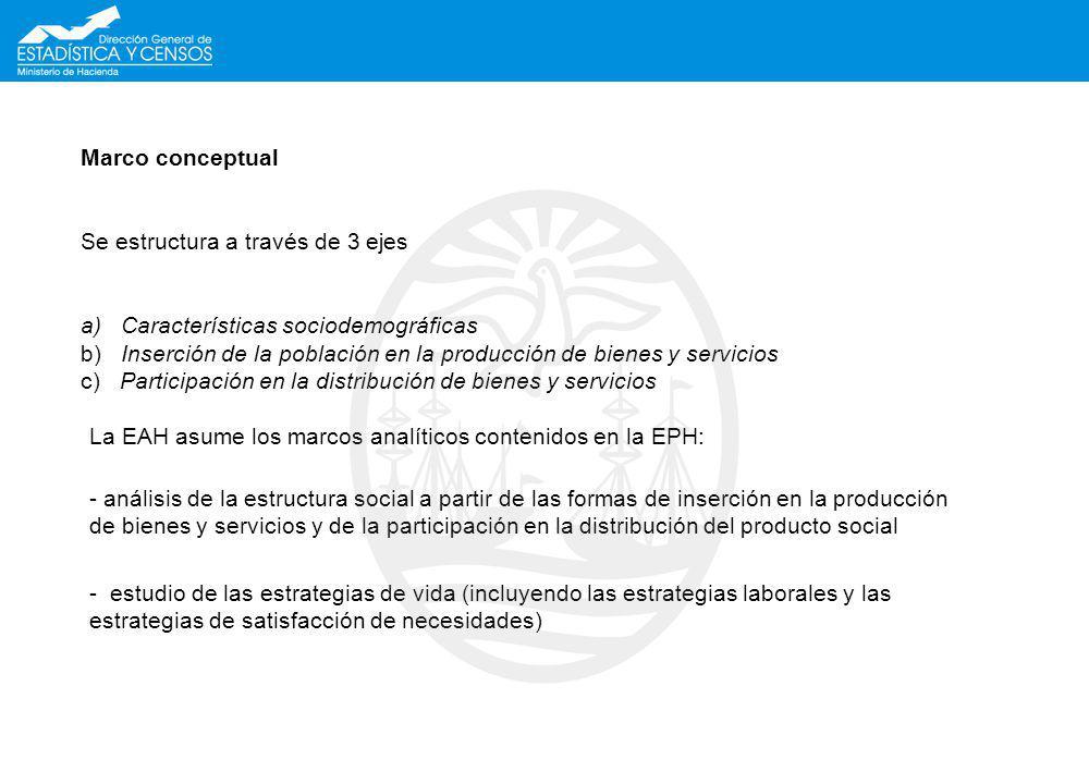 Marco conceptual Se estructura a través de 3 ejes a) Características sociodemográficas b) Inserción de la población en la producción de bienes y servicios c) Participación en la distribución de bienes y servicios