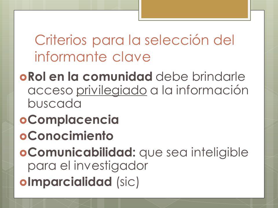 Criterios para la selección del informante clave