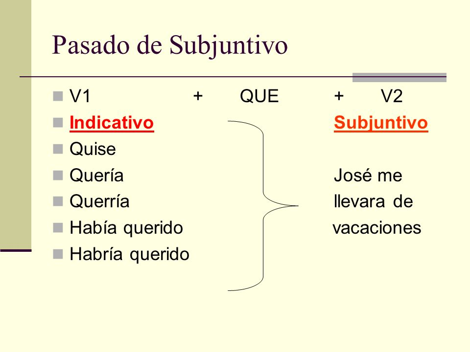 Pasado de Subjuntivo V1 + QUE + V2 Indicativo Subjuntivo Quise