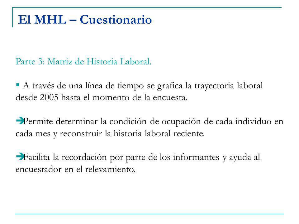 El MHL – Cuestionario Parte 3: Matriz de Historia Laboral.