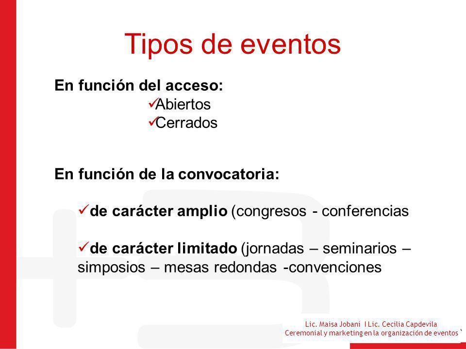 Tipos de eventos En función del acceso: Abiertos Cerrados