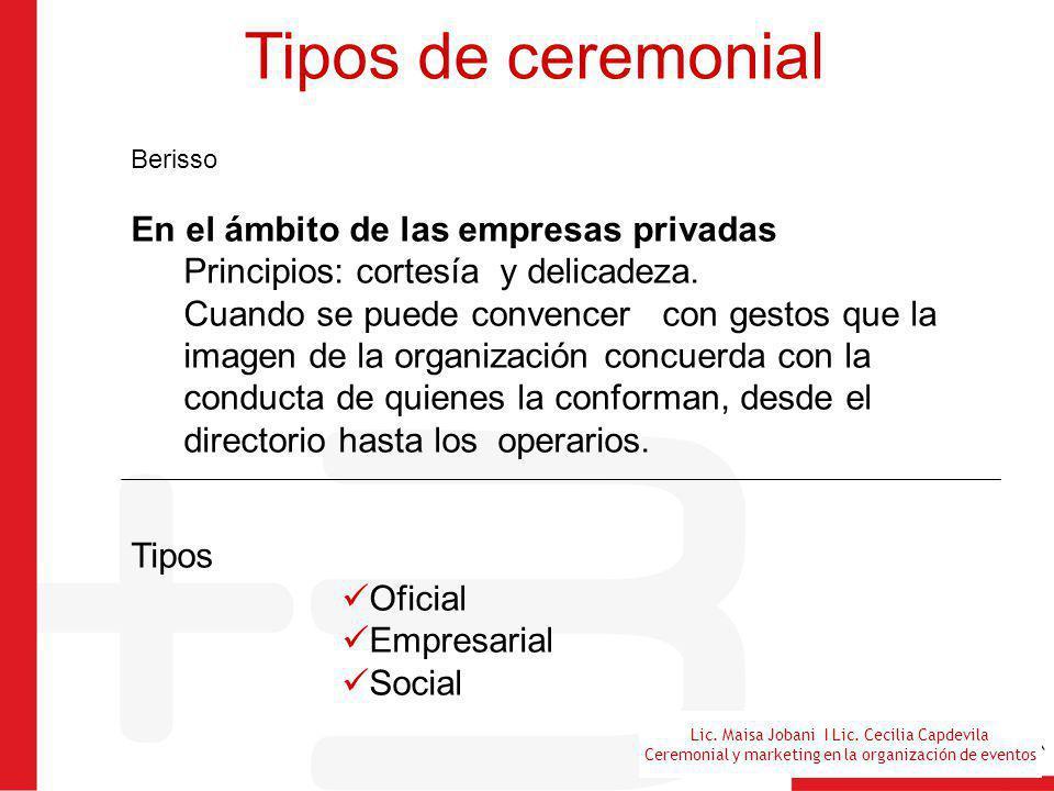 Tipos de ceremonial En el ámbito de las empresas privadas