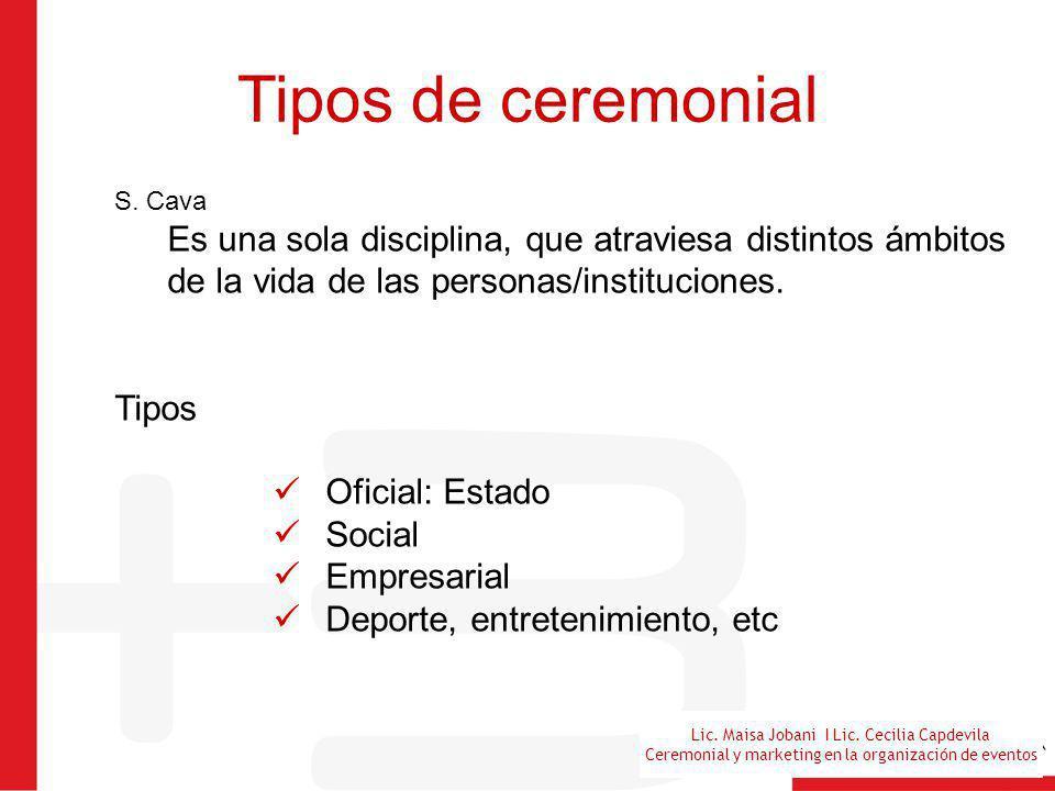 Tipos de ceremonial S. Cava. Es una sola disciplina, que atraviesa distintos ámbitos de la vida de las personas/instituciones.