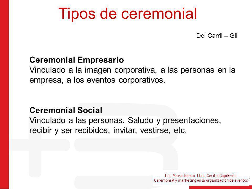 Tipos de ceremonial Del Carril – Gill.