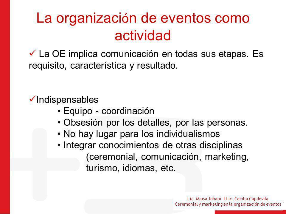 La organización de eventos como actividad