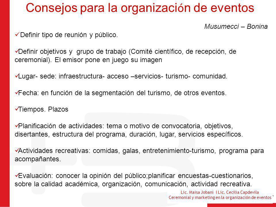 Consejos para la organización de eventos