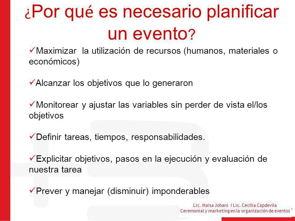 ¿Por qué es necesario planificar un evento