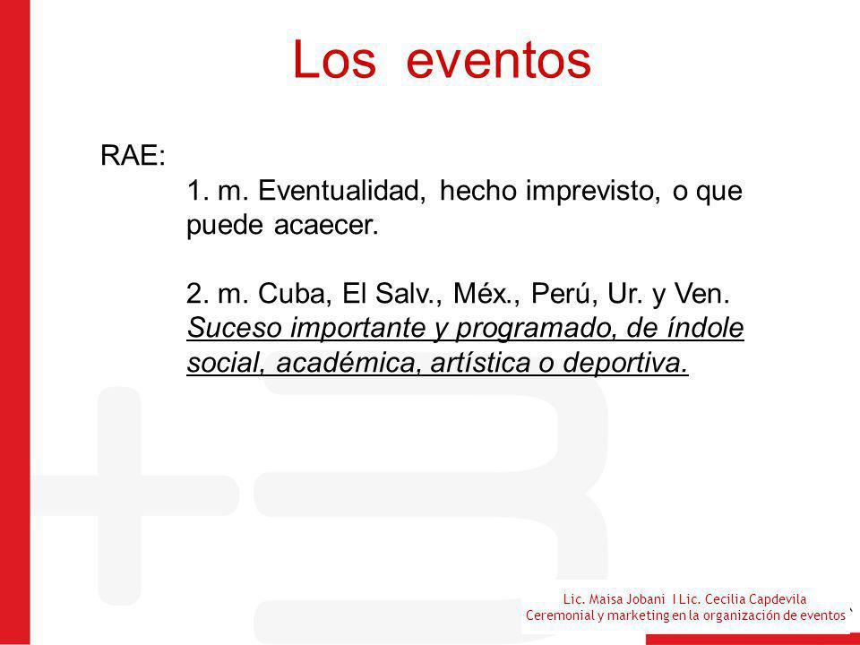 Los eventos RAE: 1. m. Eventualidad, hecho imprevisto, o que puede acaecer.