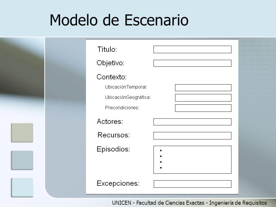 Modelo de Escenario UNICEN - Facultad de Ciencias Exactas - Ingeniería de Requisitos