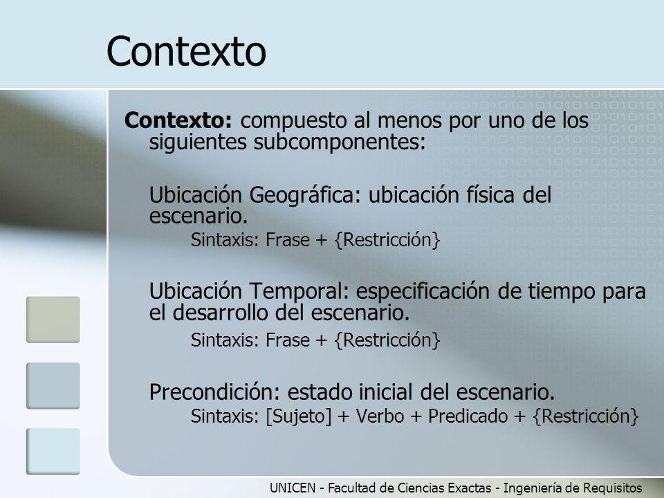 Contexto Contexto: compuesto al menos por uno de los siguientes subcomponentes: Ubicación Geográfica: ubicación física del escenario.