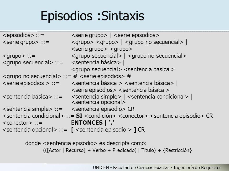 Episodios :Sintaxis <episodios> ::= <serie grupo> | <serie episodios> <serie grupo> ::= <grupo> <grupo> | <grupo no secuencial> |
