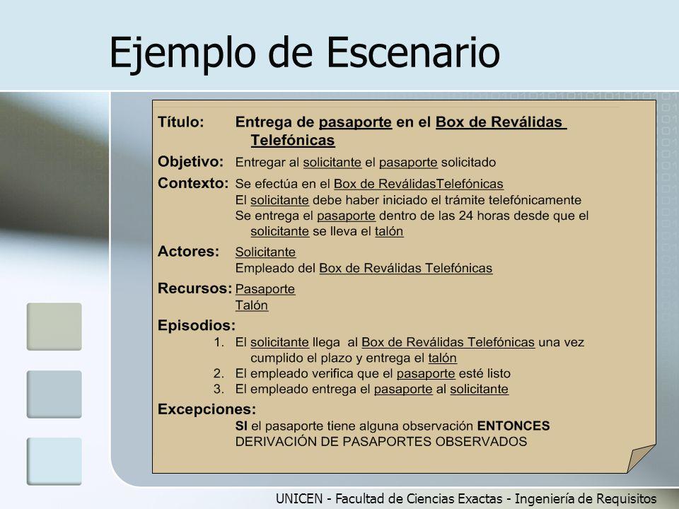 Ejemplo de Escenario UNICEN - Facultad de Ciencias Exactas - Ingeniería de Requisitos