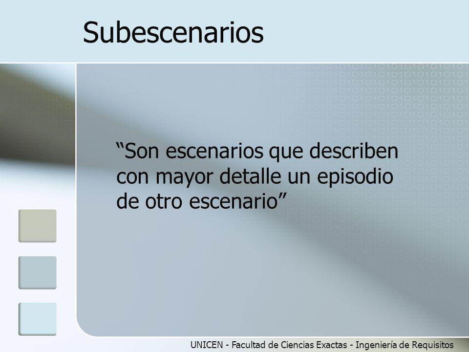 Subescenarios Son escenarios que describen con mayor detalle un episodio de otro escenario