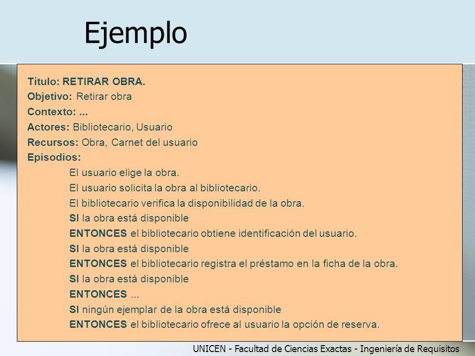 Ejemplo Título: RETIRAR OBRA. Objetivo: Retirar obra Contexto: ...