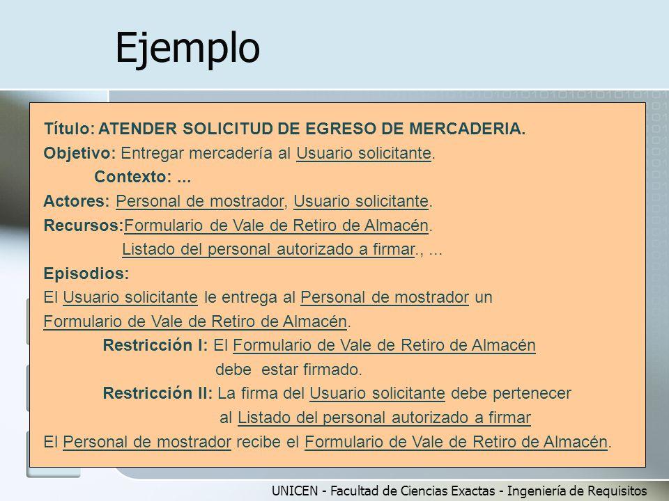 Ejemplo Título: ATENDER SOLICITUD DE EGRESO DE MERCADERIA.