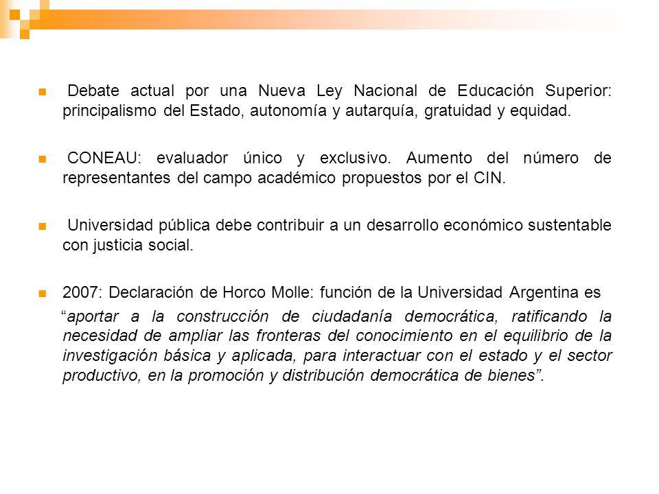 Debate actual por una Nueva Ley Nacional de Educación Superior: principalismo del Estado, autonomía y autarquía, gratuidad y equidad.