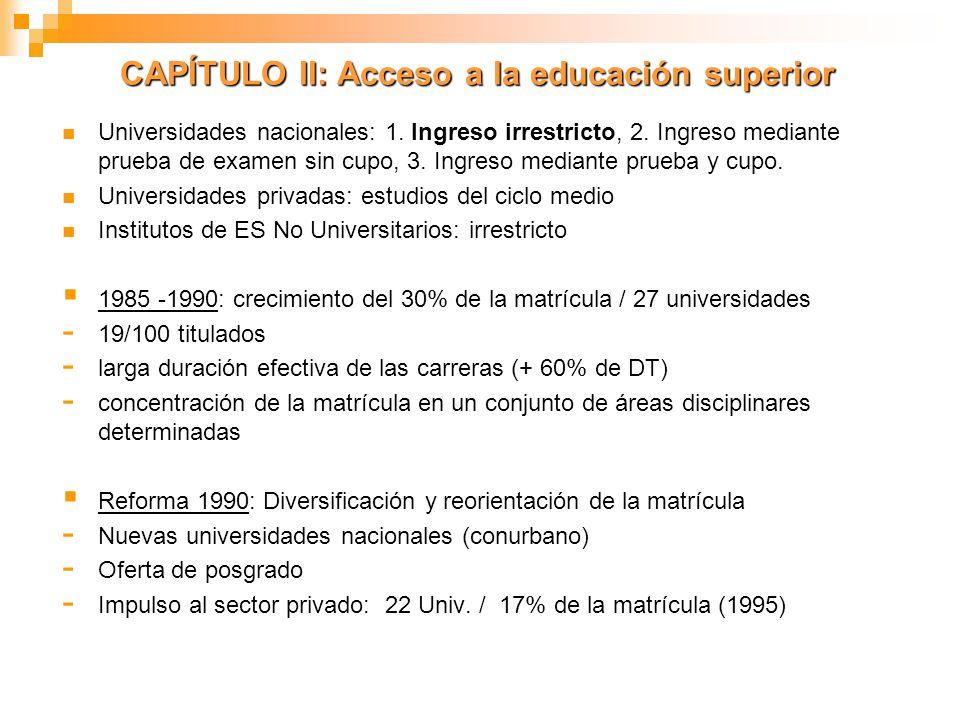 CAPÍTULO II: Acceso a la educación superior
