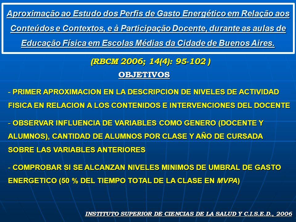 Aproximação ao Estudo dos Perfis de Gasto Energético em Relação aos Conteúdos e Contextos, e à Participação Docente, durante as aulas de Educação Física em Escolas Médias da Cidade de Buenos Aires.