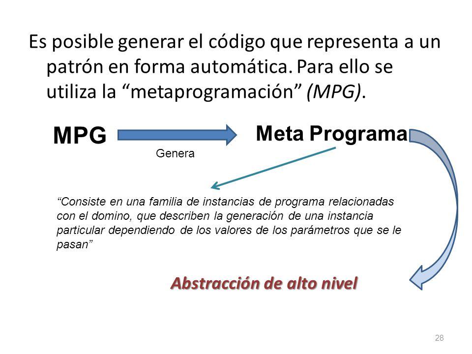 Es posible generar el código que representa a un patrón en forma automática. Para ello se utiliza la metaprogramación (MPG).