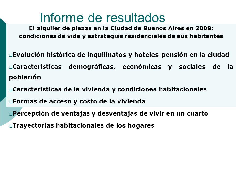Informe de resultados El alquiler de piezas en la Ciudad de Buenos Aires en 2008: condiciones de vida y estrategias residenciales de sus habitantes.