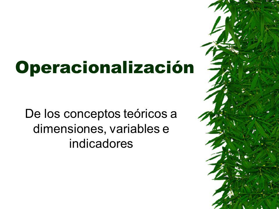 De los conceptos teóricos a dimensiones, variables e indicadores
