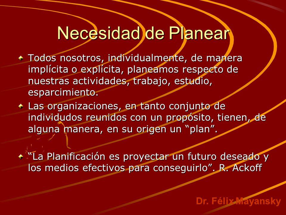 Necesidad de Planear