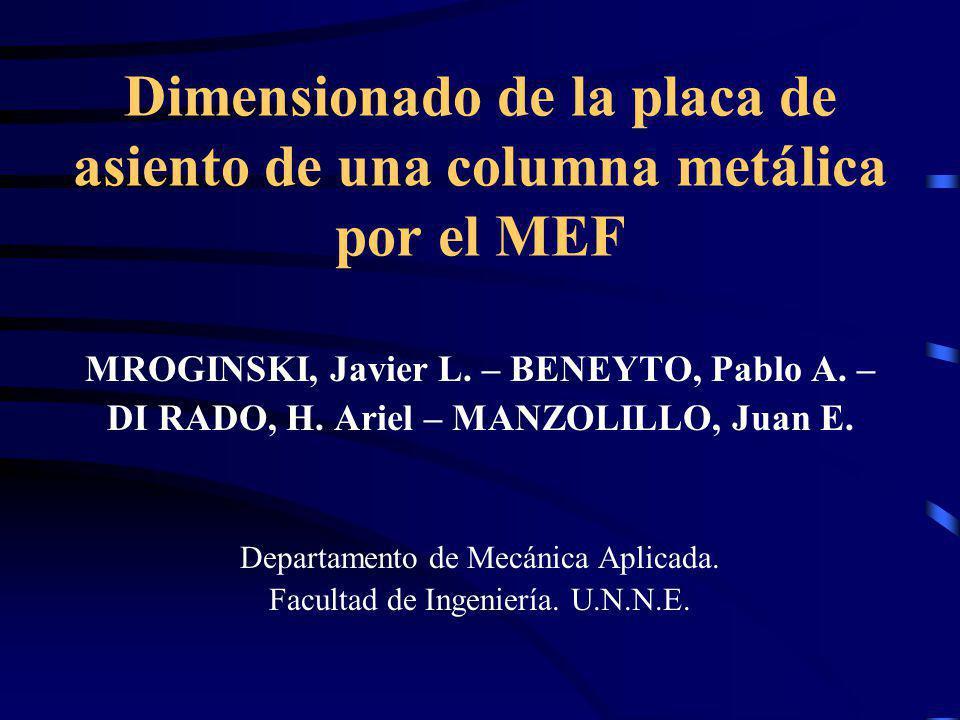 Dimensionado de la placa de asiento de una columna metálica por el MEF