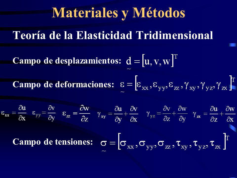 Materiales y Métodos Teoría de la Elasticidad Tridimensional