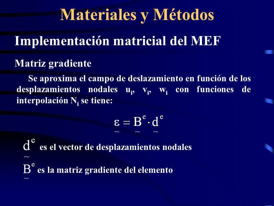 Materiales y Métodos Implementación matricial del MEF Matriz gradiente