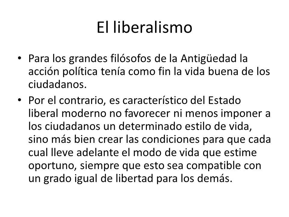 El liberalismo Para los grandes filósofos de la Antigüedad la acción política tenía como fin la vida buena de los ciudadanos.