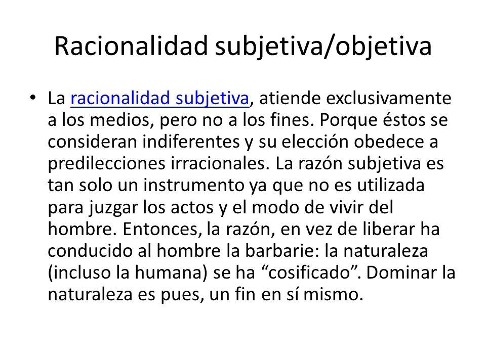 Racionalidad subjetiva/objetiva