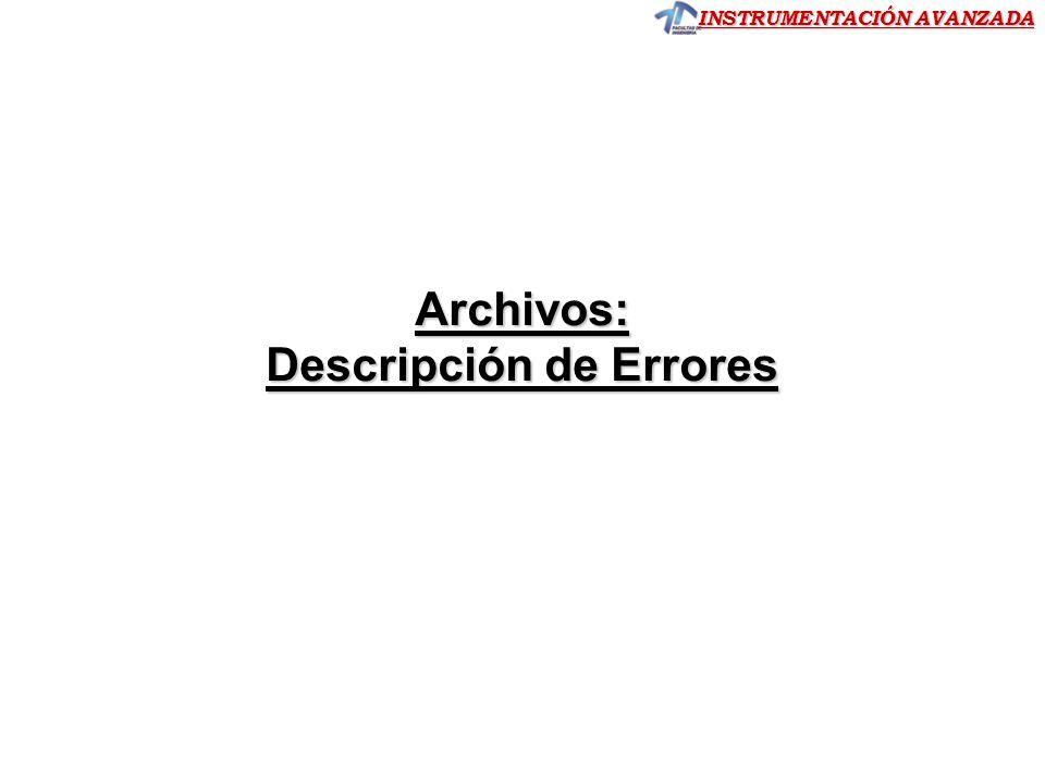 Descripción de Errores