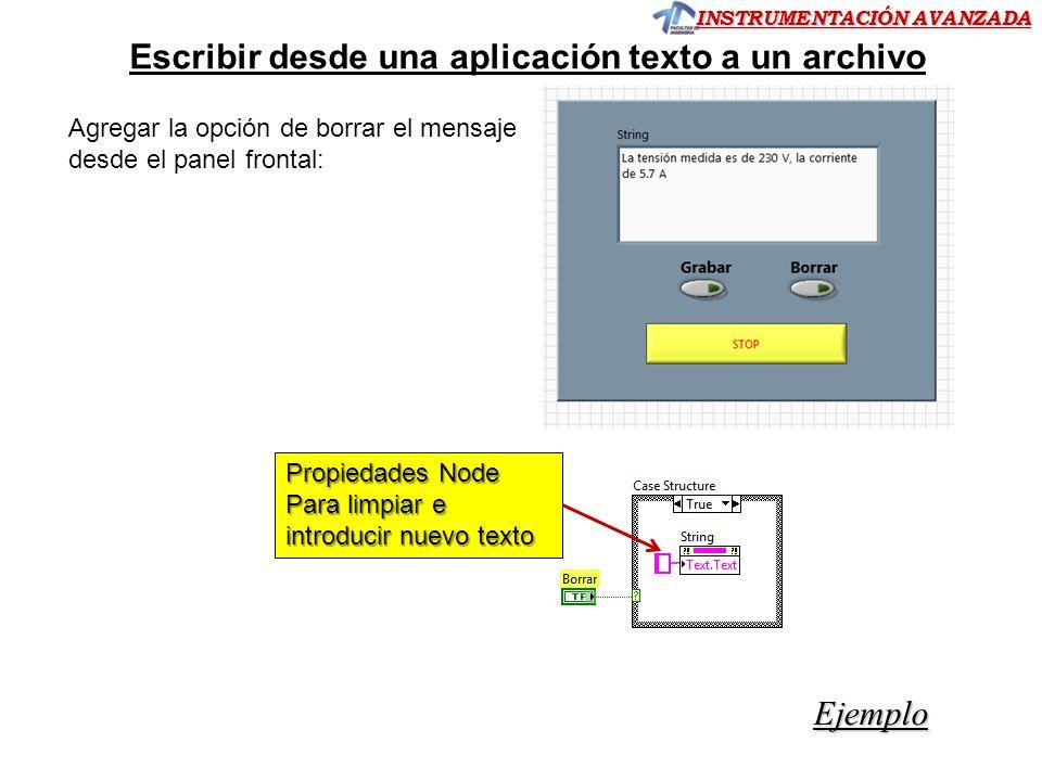 Escribir desde una aplicación texto a un archivo
