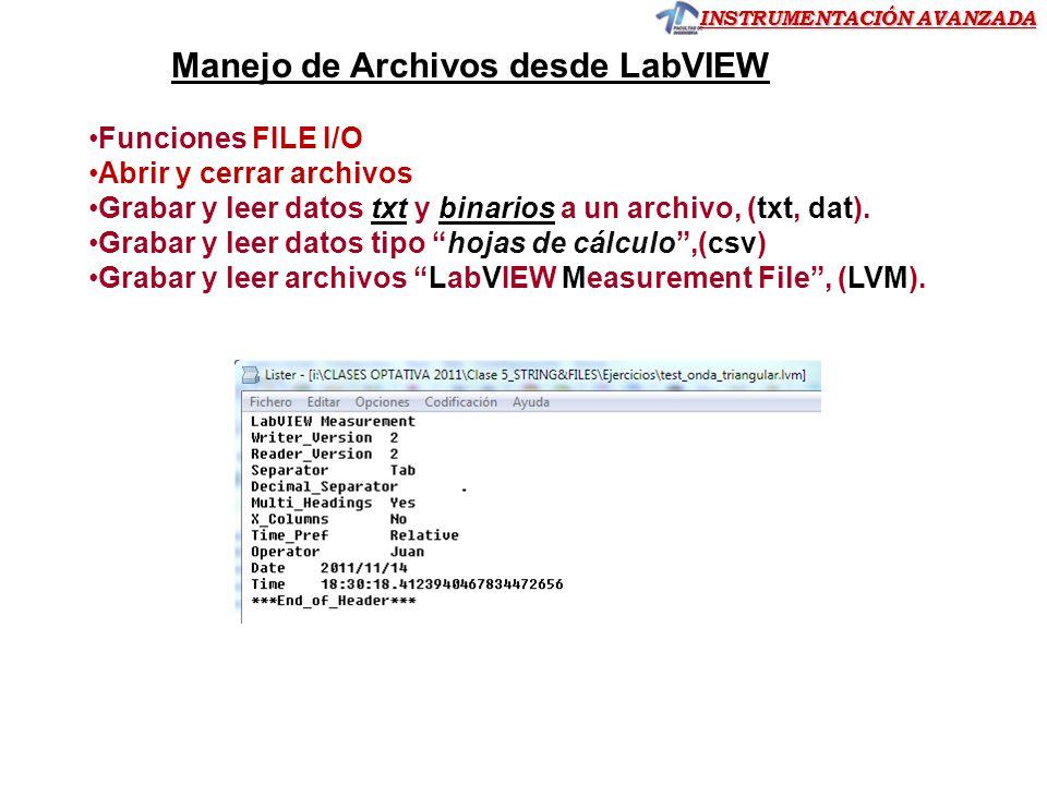 Manejo de Archivos desde LabVIEW