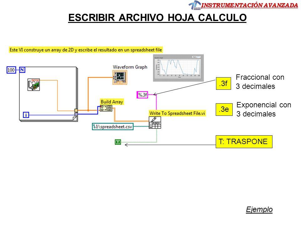 ESCRIBIR ARCHIVO HOJA CALCULO