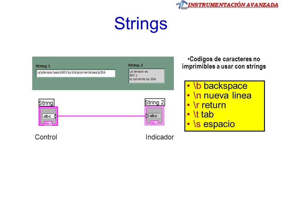 Codigos de caracteres no imprimibles a usar con strings