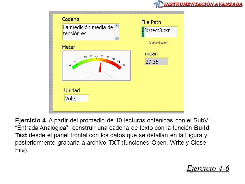 Ejercicio 4. A partir del promedio de 10 lecturas obtenidas con el SubVI Entrada Analógica , construir una cadena de texto con la función Build Text desde el panel frontal con los datos que se detallan en la Figura y posteriormente grabarla a archivo TXT (funciones Open, Write y Close File).