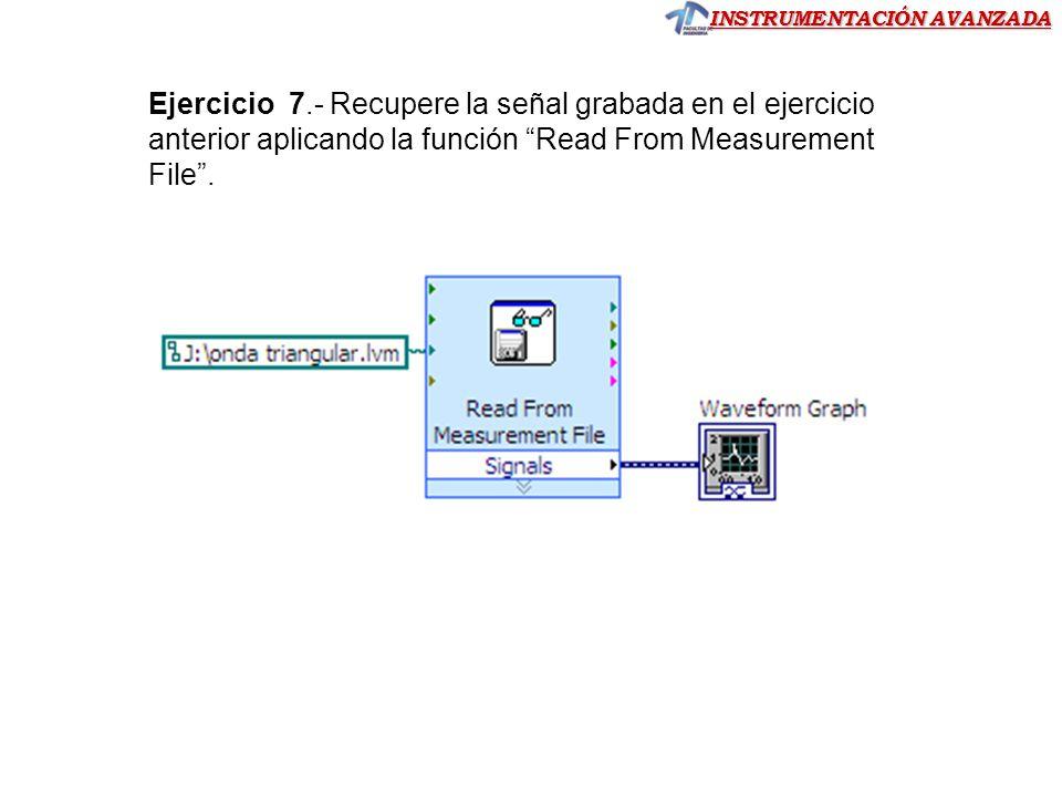Ejercicio 7.- Recupere la señal grabada en el ejercicio anterior aplicando la función Read From Measurement File .