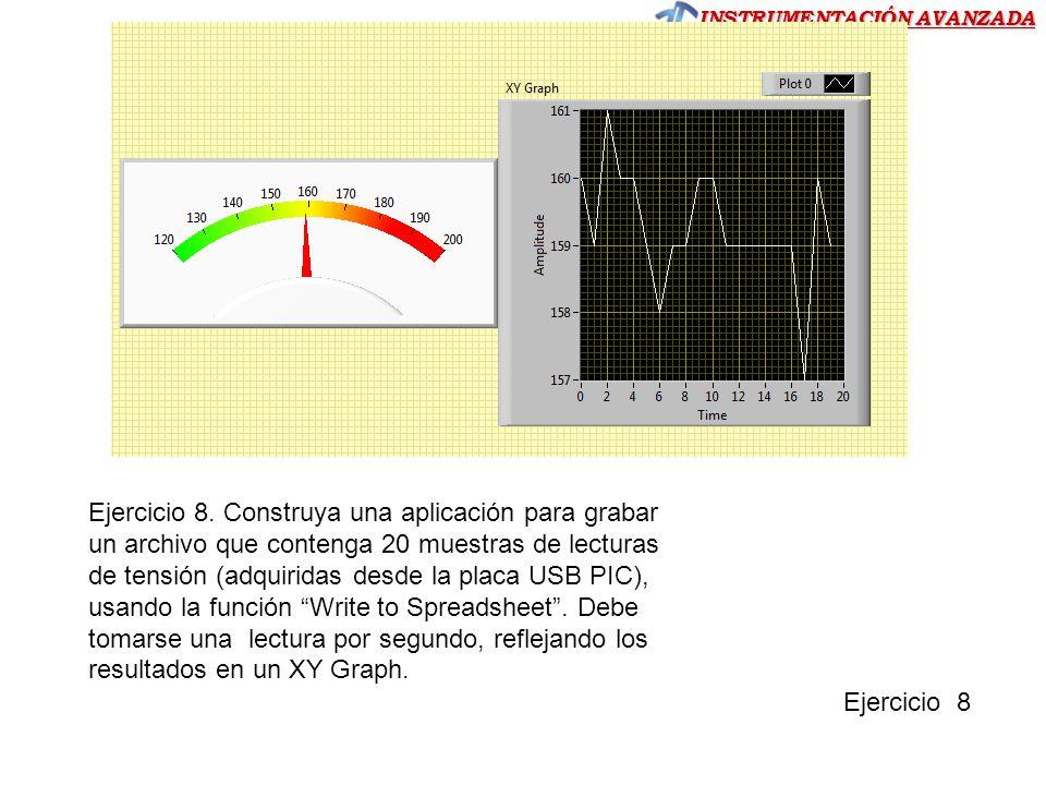 Ejercicio 8. Construya una aplicación para grabar un archivo que contenga 20 muestras de lecturas de tensión (adquiridas desde la placa USB PIC), usando la función Write to Spreadsheet . Debe tomarse una lectura por segundo, reflejando los resultados en un XY Graph.