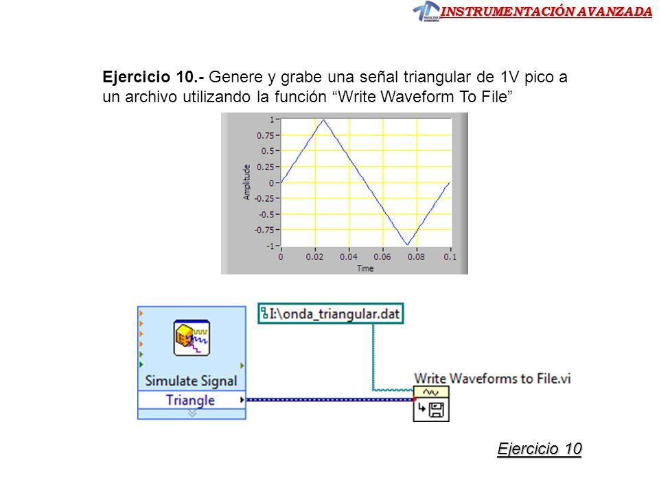 Ejercicio 10.- Genere y grabe una señal triangular de 1V pico a un archivo utilizando la función Write Waveform To File