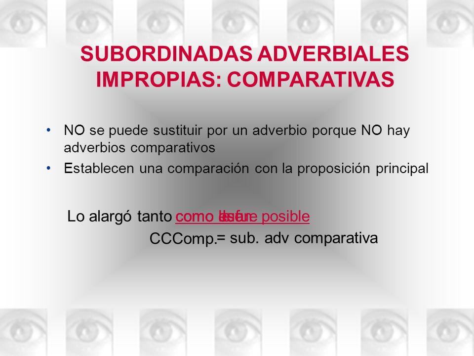 SUBORDINADAS ADVERBIALES IMPROPIAS: COMPARATIVAS