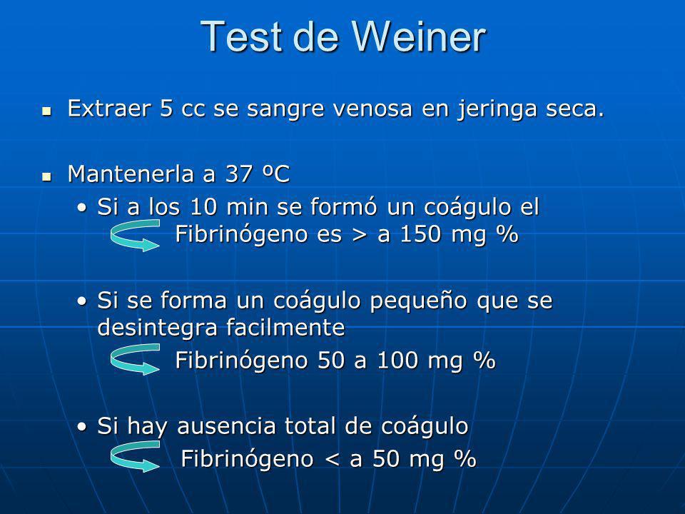 Test de Weiner Extraer 5 cc se sangre venosa en jeringa seca.