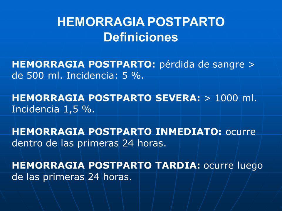 HEMORRAGIA POSTPARTO Definiciones