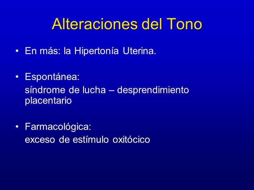 Alteraciones del Tono En más: la Hipertonía Uterina. Espontánea: