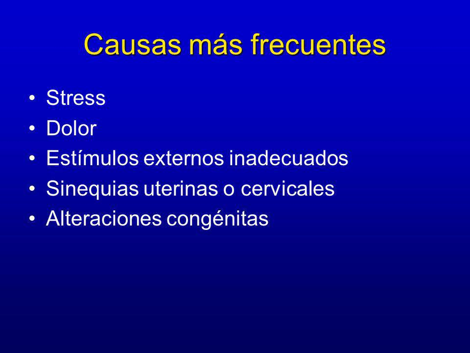 Causas más frecuentes Stress Dolor Estímulos externos inadecuados