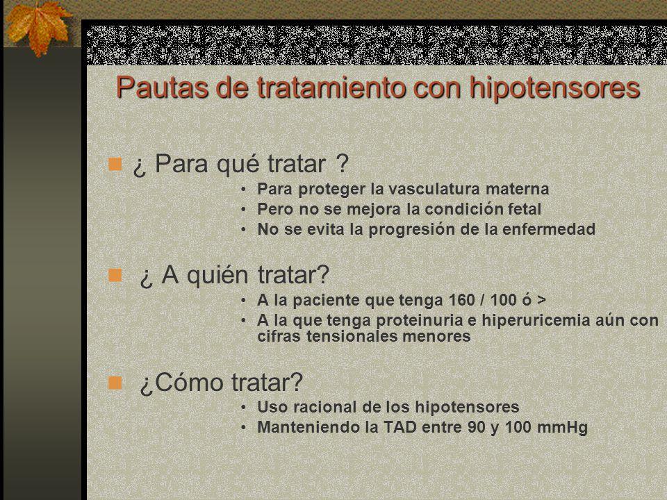 Pautas de tratamiento con hipotensores