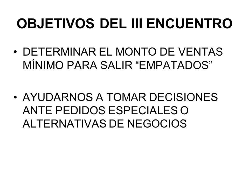 OBJETIVOS DEL III ENCUENTRO