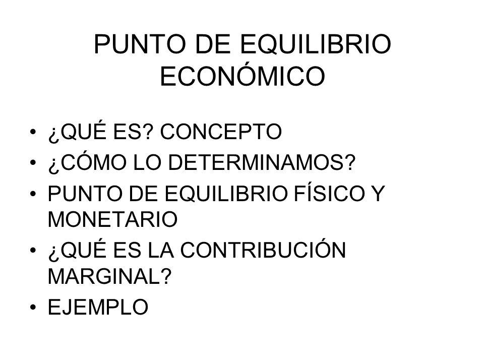 PUNTO DE EQUILIBRIO ECONÓMICO