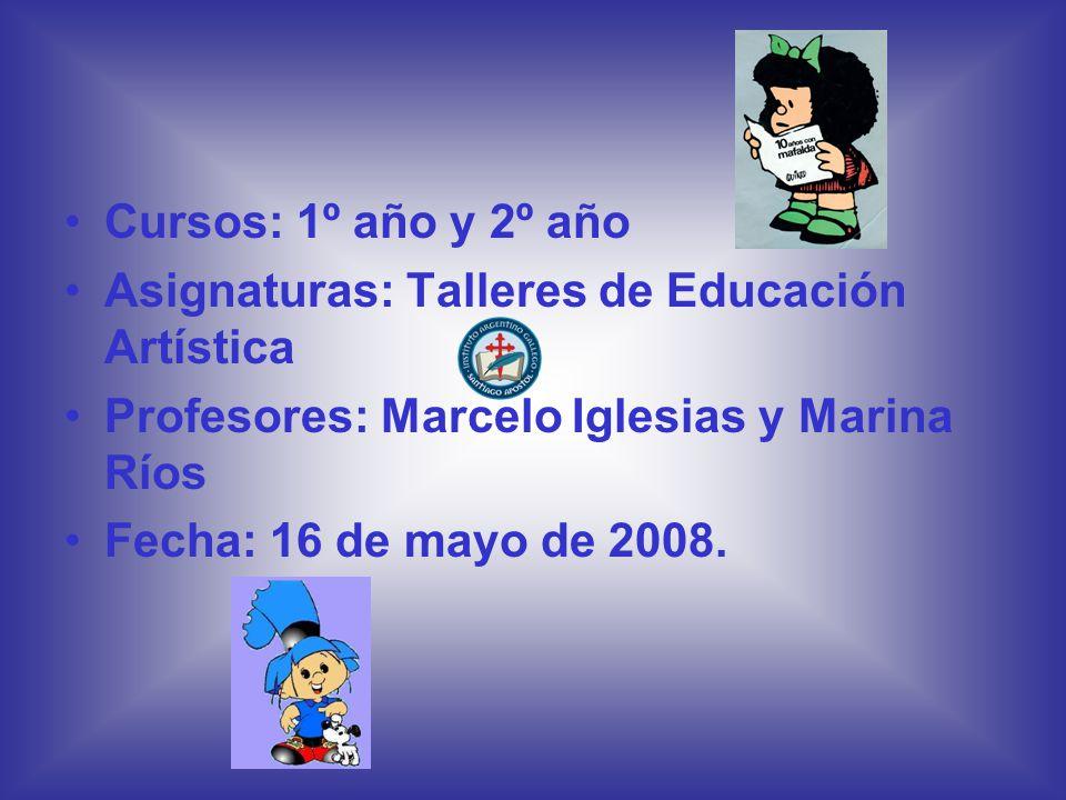 Cursos: 1º año y 2º año Asignaturas: Talleres de Educación Artística. Profesores: Marcelo Iglesias y Marina Ríos.